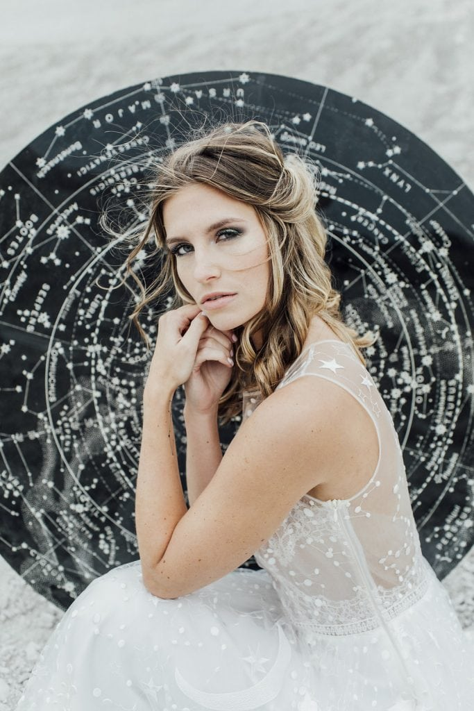 bride with celestial chart