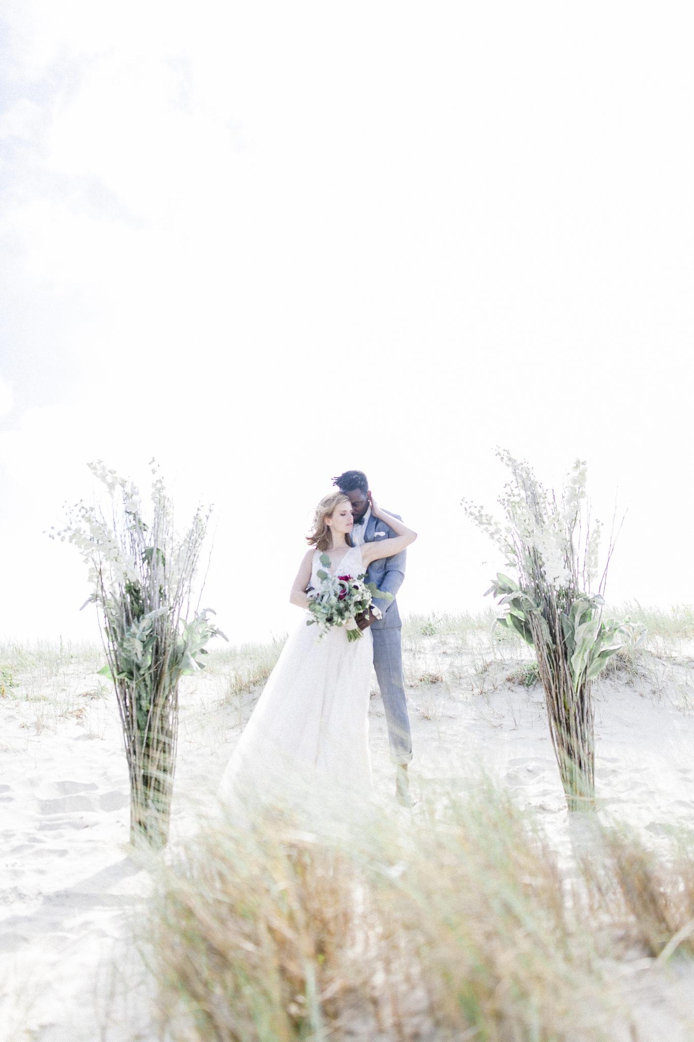Fine art wedding look bride and groom