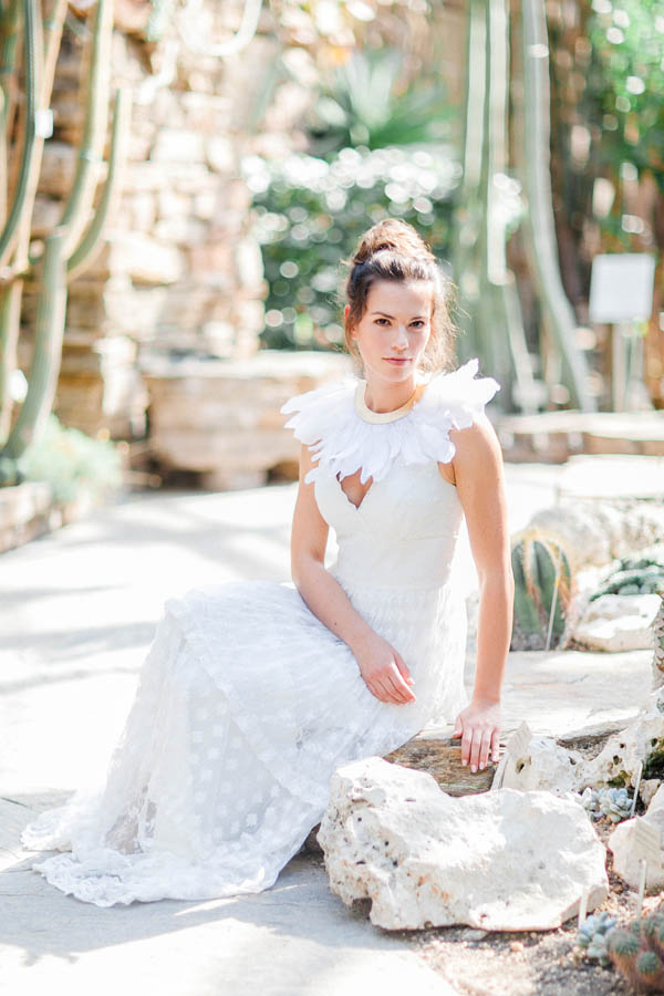 Wedding dress with feather collar