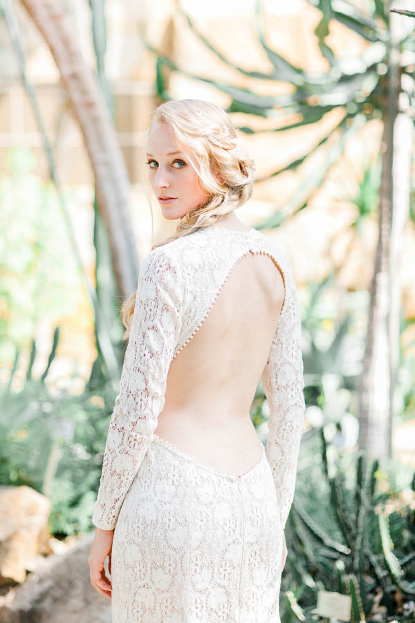 Deep cut out wedding gown