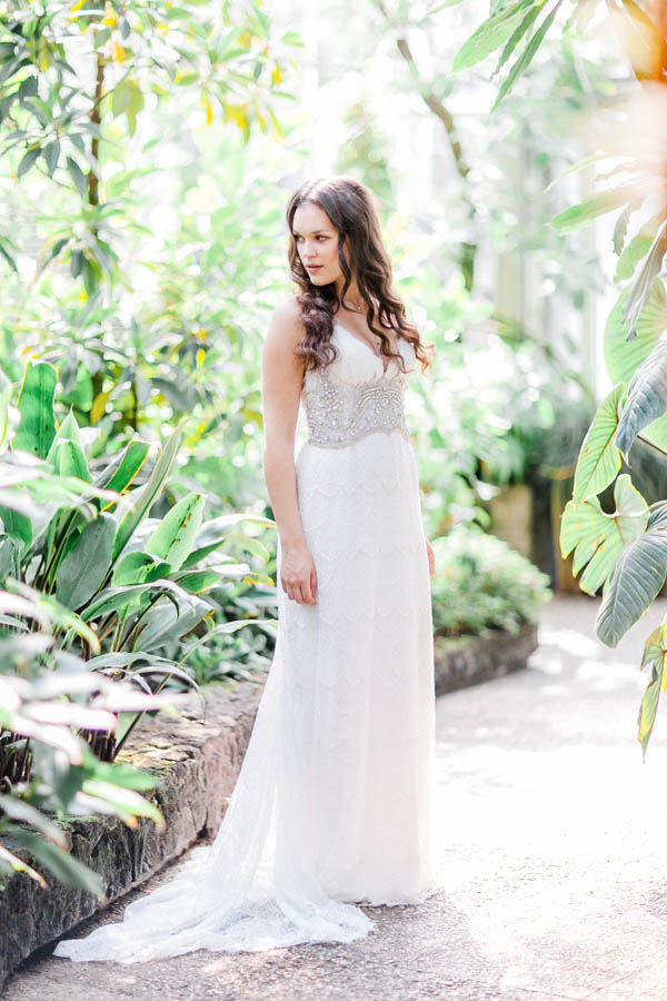 Lace bridal dress with beaded details