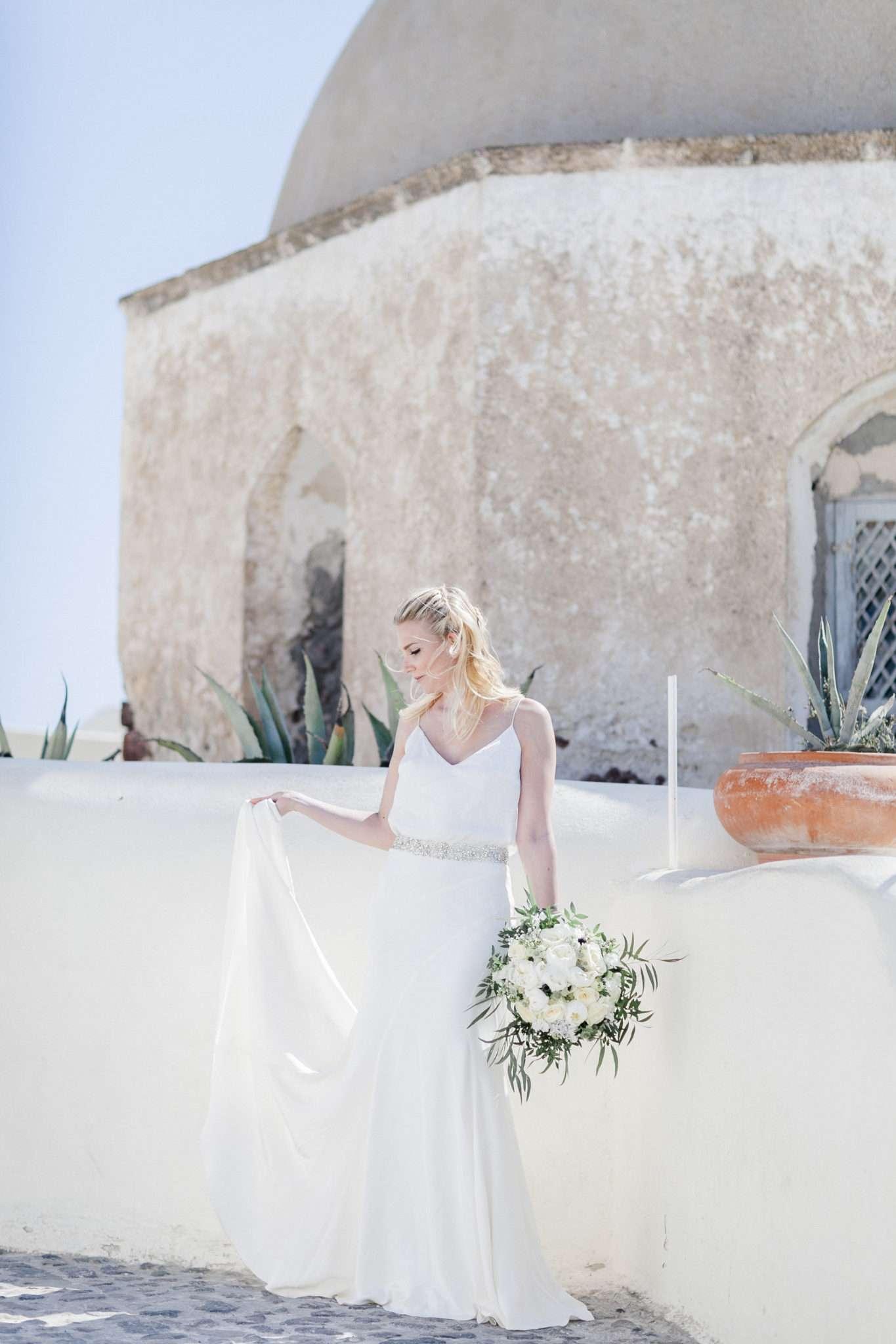 bride with long white wedding gown, wedding dress, summer wedding dress, bridal bouquet