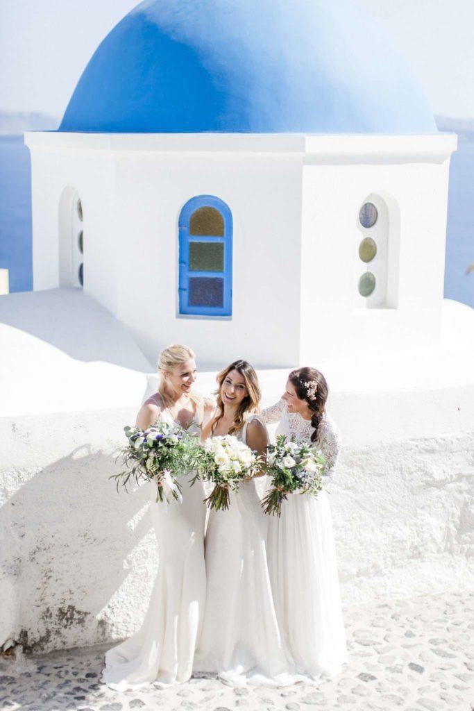 three brides, wedding dress, wedding gown, long dress, bridal bouquet