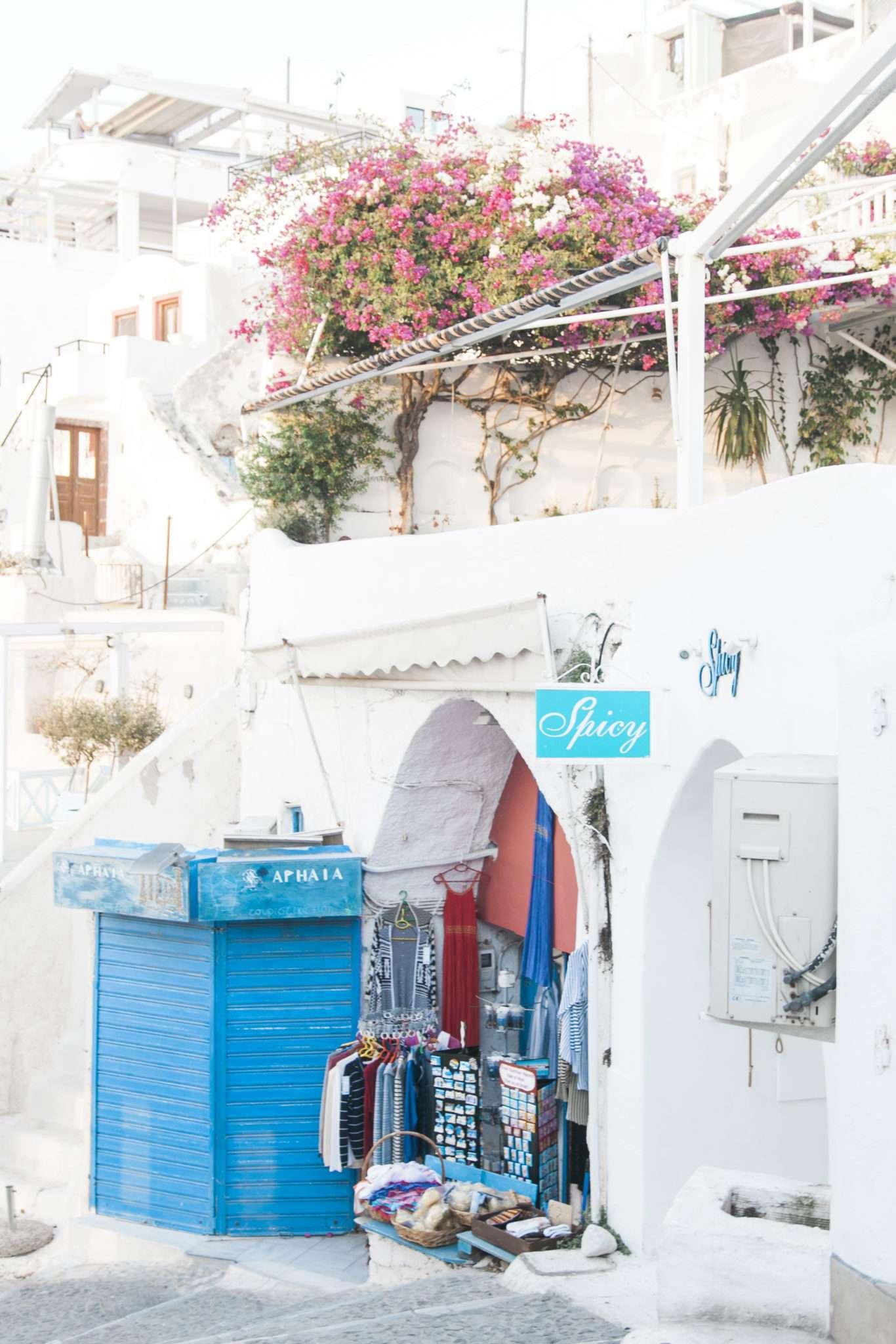 white and blue santorini, destination wedding