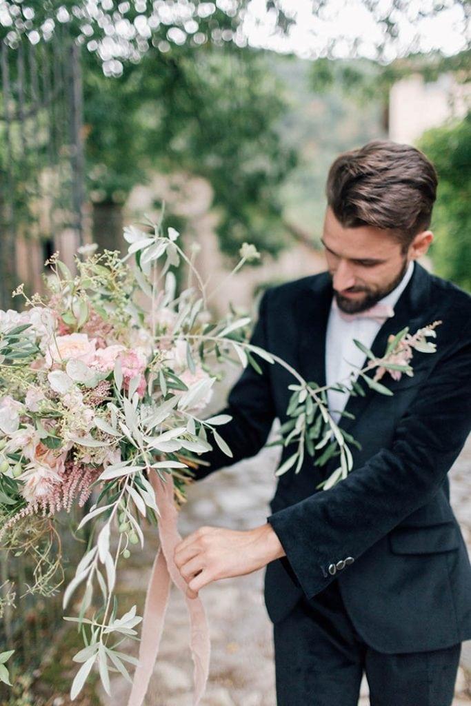 Villa Catureglio Tuscany Wedding Groom Flowers