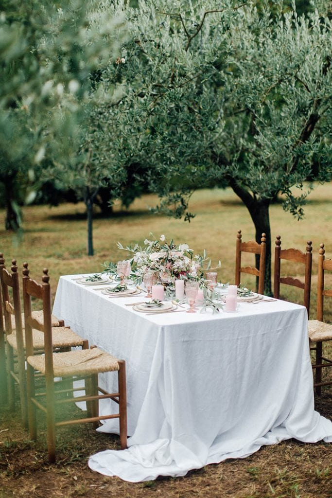 Villa Catureglio Tuscany Wedding Table Scape 2