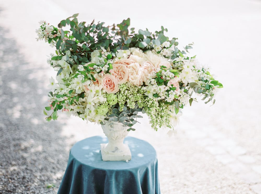 dusty blue color palette velvet themed wedding centerpiece wedding castle in germany getting married in germany