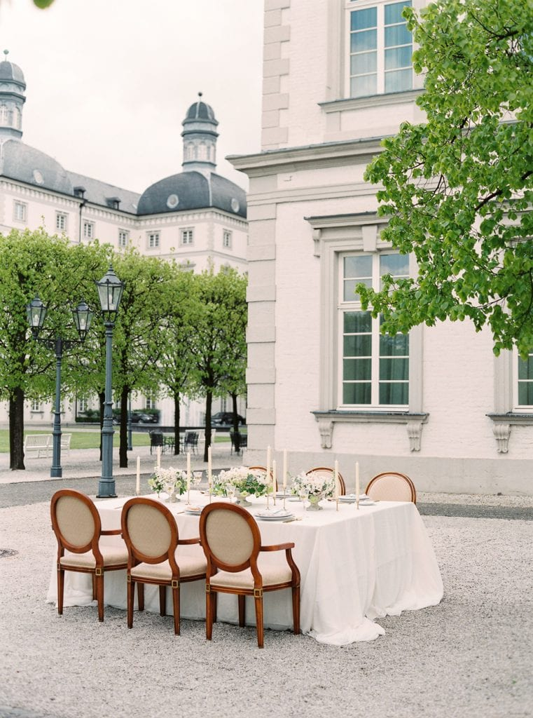 wedding castle in germany wedding venue germany getting married in germany velvet themed wedding dusty blue color palette table scape