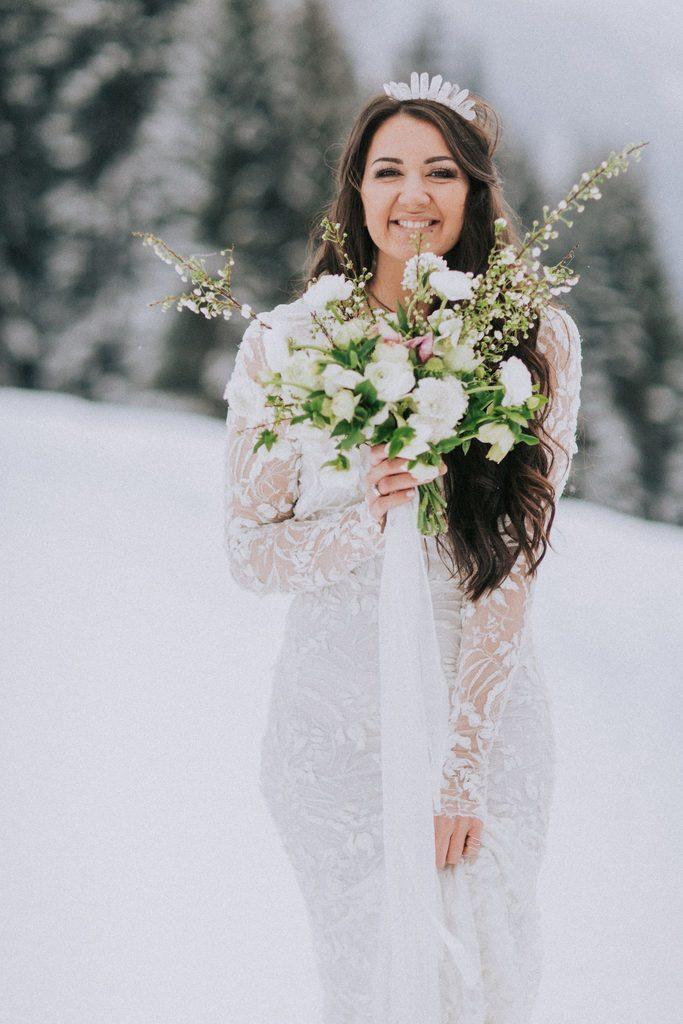 Magnolias On Silk Austria Winter Wedding Bride Dress Bouquet