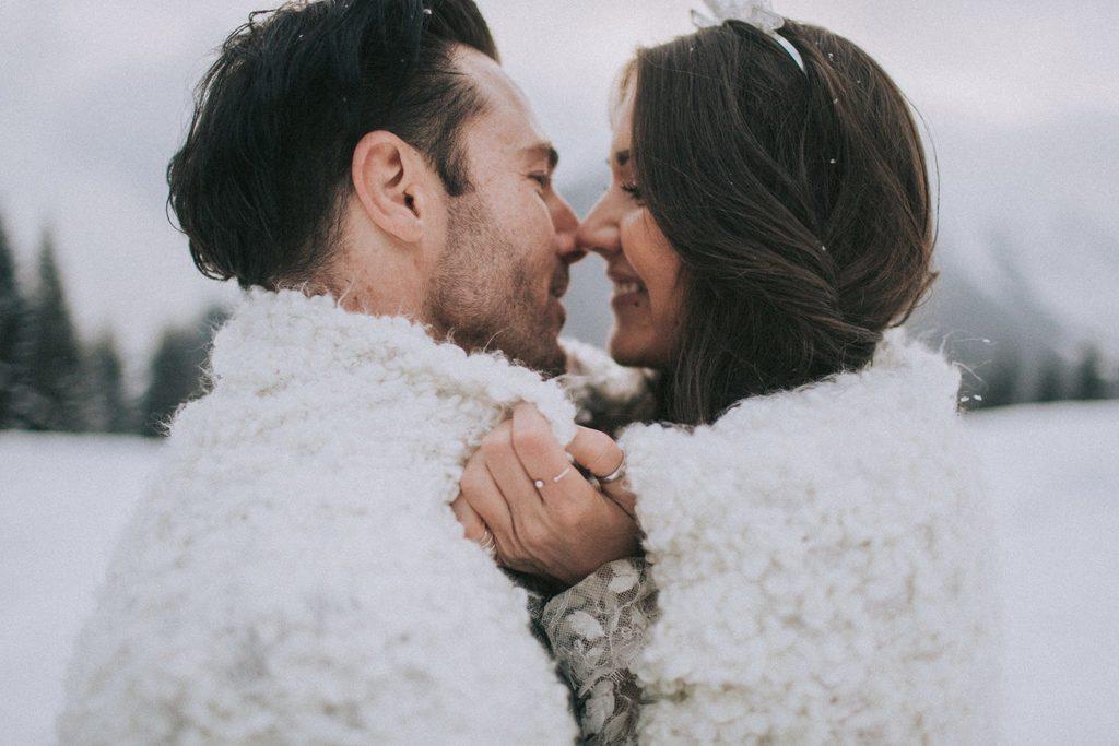 Magnolias On Silk Austria Winter Wedding Couple