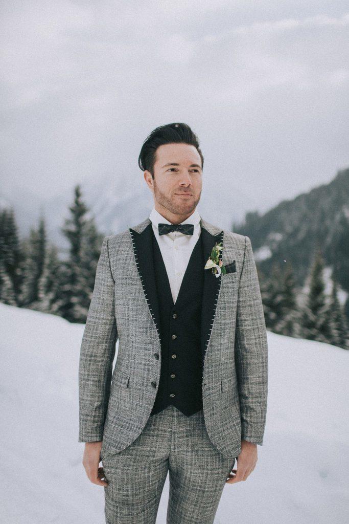 Magnolias On Silk Austria Winter Wedding Groom Grey Suit