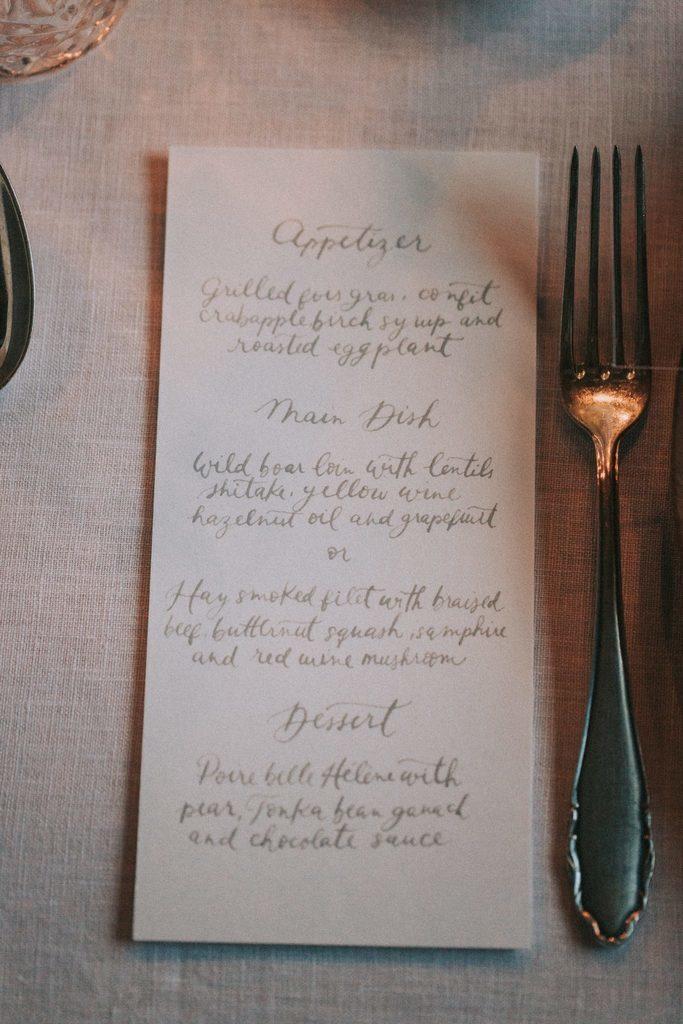 Magnolias On Silk Austria Winter Wedding Stationary Menu Card