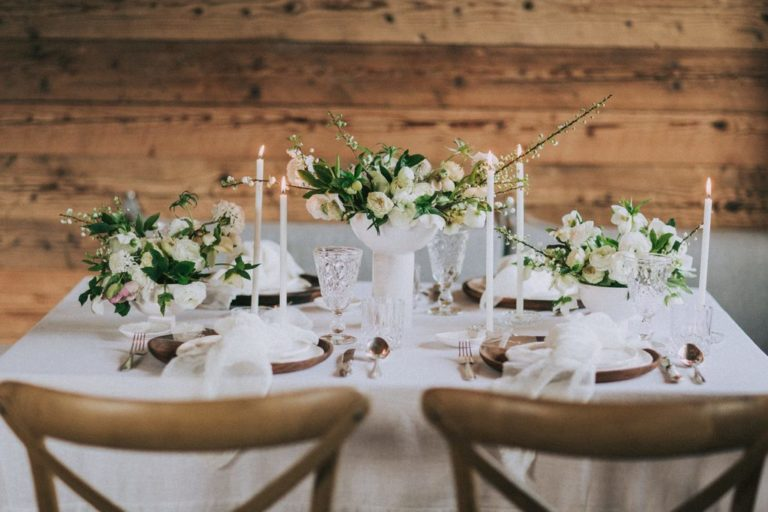 Magnolias On Silk Austria Winter Wedding Tablescape Centerpieces