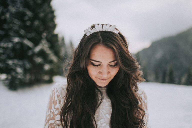 Magnolias On Silk Winter Wedding Crystal Headpiece