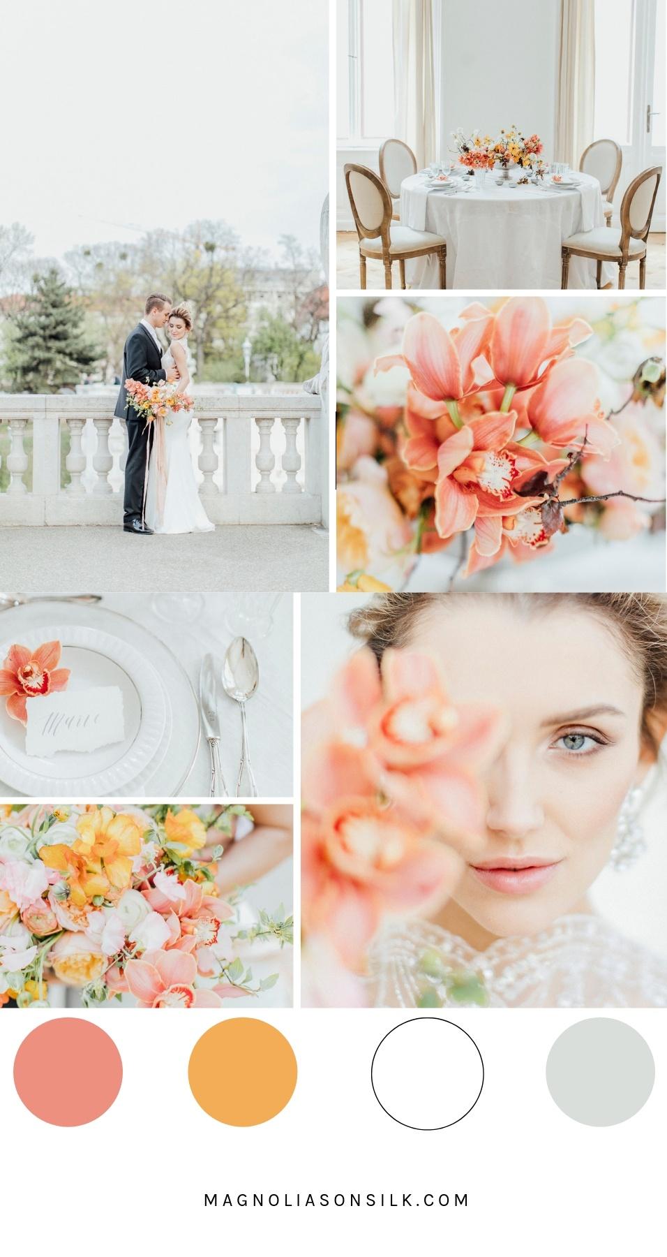 coral spring wedding, spring wedding palette, living coral