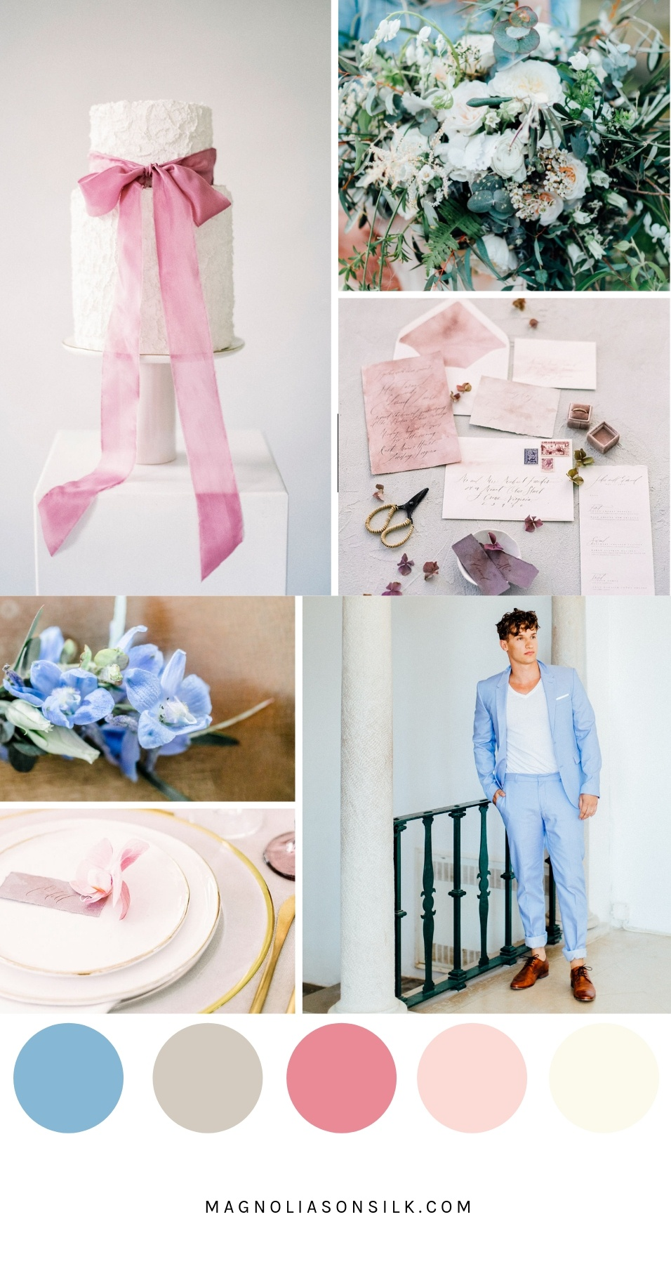 moodboard, sprig wedding color palette, spring wedding color scheme, dusty blue, dusty pink