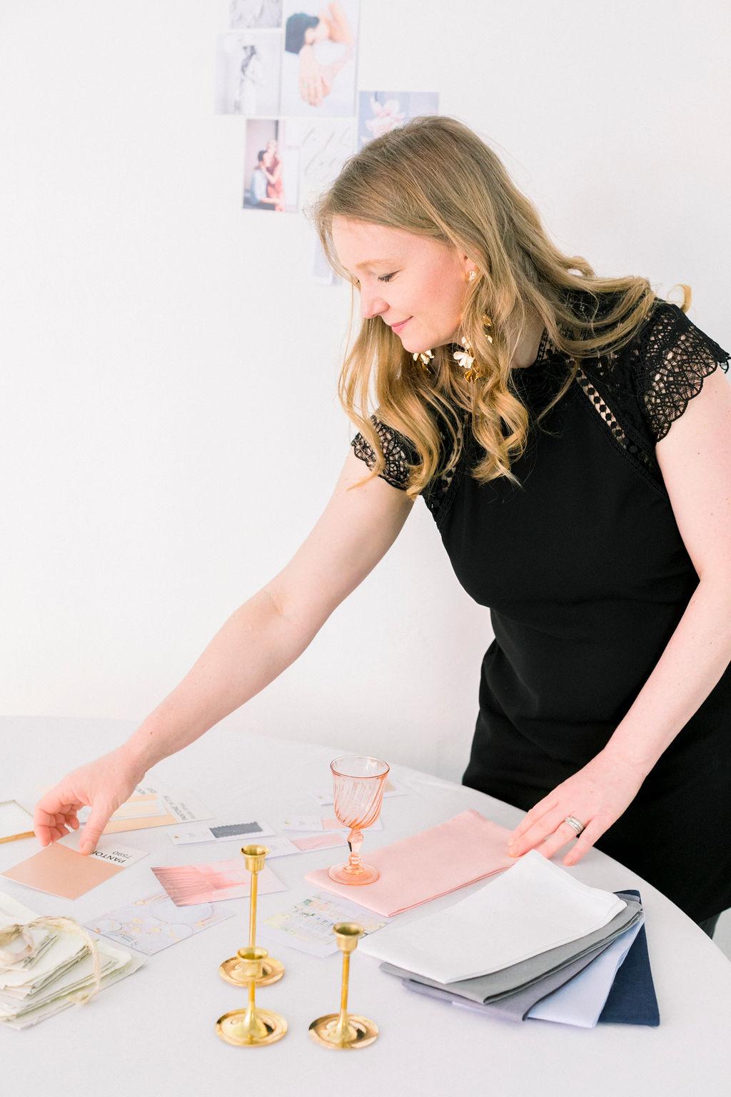 wedding stylist, creating a wedding design concept