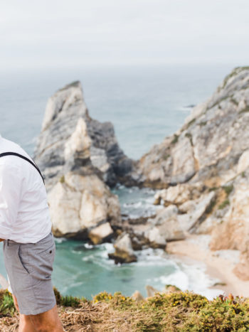 cliffs at praia d'ursa, beach wedding, beach elopement, portugal elopement